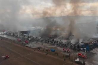 Cum arată fabrica din Alba Iulia după incendiul devastator. Imagini filmate cu drona