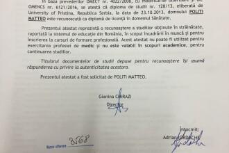Matteo Politi avea un atestat de recunoaștere a studiilor de la Ministerul Educației