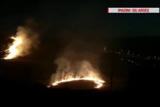 Incendiu de vegetație pe dealurile din Ștefănești, Argeș. Focul, pus intenționat