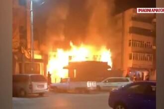 Două spații comerciale din Caracal, făcute scrum într-un incendiu