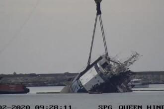 Operaţiunea de ridicare a navei cu oi moarte din Portul Midia a fost reluată. VIDEO