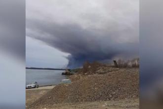 Incendiu puternic pe malul Dunării, în Bulgaria. Fumul s-a văzut și în România