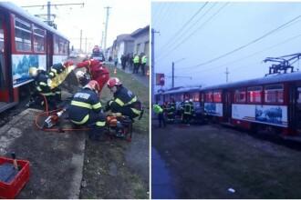 O femeie a murit tăiată de roțile tramvaiului la Arad, în timp ce încerca să coboare