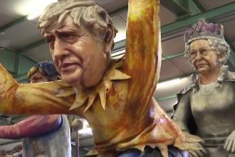 Carnavalul din Mainz. Cum sunt reprezentați Boris Johnson și Regina Elisabeta a II-a