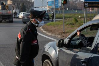 Carabinierii păzesc ieșirile din orașele afectate de coronavirus. Doar magazinele și farmaciile sunt deschise