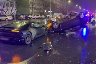 Cascadorie în București. Șoferul unui Lamborghini a provocat un accident