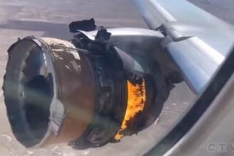 Clipe de groază pentru pasagerii unui avion, după ce motorul acestuia a explodat în timpul zborului