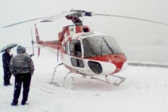 Orsova: Aterizare de urgenta a unui elicopter din cauza ninsorii! Vezi FOTO