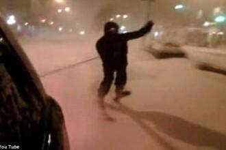 Cu 65 km/h, pe schiuri, in centrul Manhattan-ului! VIDEO
