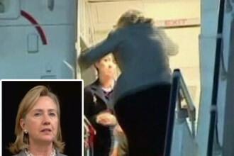 Pravale-baba! Hillary Clinton a picat pe scarile avionului. TOP cazaturi