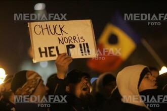 Protestatari care nu si-au pierdut simtul umorului: ii cer ajutor lui Chuck Norris