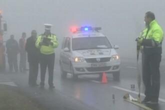 Zece autoturisme implicate intr-un accident in lant pe DN 1, din cauza poleiului. Traficul rutier, deviat pe rute ocolitoare