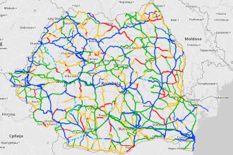 Romania are in premiera o harta a calitatii drumurilor. Este facuta de voluntari, autoritatile au contribuit doar cu gropile