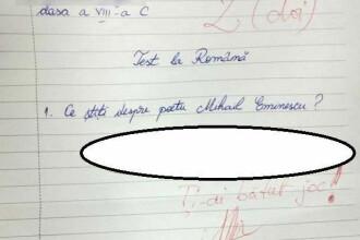De necrezut! Ce a putut sa scrie un elev de clasa a VIII-a despre Mihai Eminescu chiar de ziua poetului
