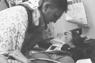Momentul emotionant in care doi indragostiti se vad prima data dupa un accident grav din noaptea de Anul Nou