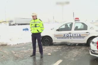 Scandal la intrarea pe A2, dinspre Bucuresti. Solutia politiei pentru soferii carora li s-a promis ca drumul este deschis