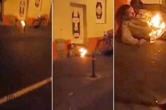 Imagini infioratoare, surprinse pe o strada din Siria. Un barbat arde la propriu, pe strada, fara sa aiba vreo reactie. VIDEO