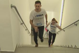 Maraton pe 680 de trepte, in cea mai inalta cladire din Romania. Peste 800 de oameni au alergat in scopuri caritabile