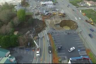 Groapa uriasa aparuta pe o autostrada din SUA. Repararea craterului va dura cel putin opt saptamani