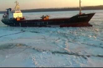 Traficul pe Dunare este blocat de sloiuri. Doar un impingator mai traverseza fluviul, in cazuri de urgenta