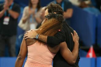 Reacția Serenei Williams după ce a învins-o Roger Federer, într-un meci din Cupa Hopman