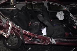Întorși din Anglia, doi români au murit pe A1. Maşina lor a fost decopertată după impact