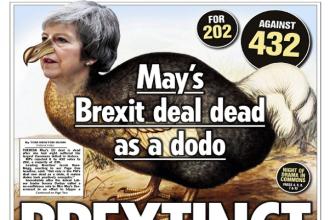 """Presa britanică vorbește despre un """"BREXTINCT"""", după înfrângerea lui May în Parlament"""