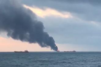 Incident cu două nave, în Strâmtoarea Kerci. Sunt 10 morți și 7 dați dispăruți