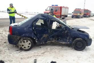 Accident cauzat de polei în Vrancea. O femeie a murit, doi bărbați sunt răniți