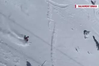 Schior, la un pas să fie omorât de avalanșa pe care el a provocat-o, în Sinaia