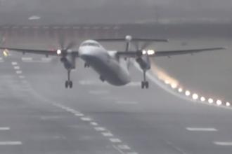 Avion împins de un vânt puternic la decolare. Scenele filmate. VIDEO