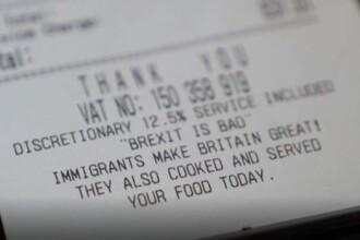 """Mesajul despre imigranți, tipărit pe bonuri fiscale în UK. """"Am primit amenințări cu moartea"""""""