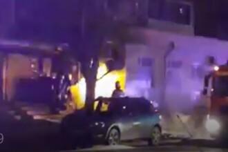 VIDEO. Instalația de gaze de la parterul unui bloc din Galați a luat foc din cauza unei petarde