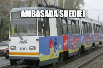 Postarea virală a Ambasadei Suediei, după ce un tramvai a lovit un BMW în Capitală