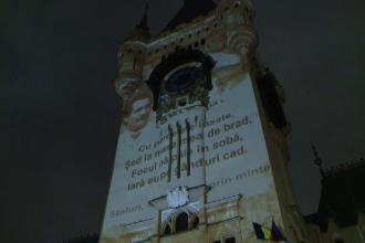 170 de ani de la nașterea lui Eminescu. Versurile proiectate pe fațada Palatului Culturii din Iași
