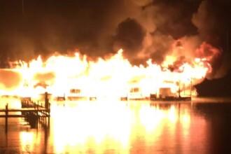 VIDEO Incendiu devastator într-un port din SUA, 8 oameni au murit.