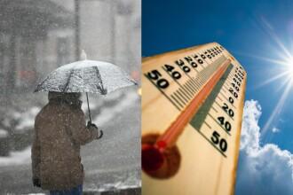 Ninsori în centrul și nordul României, termperaturi ridicate în sud. Cum va fi vremea în weekend