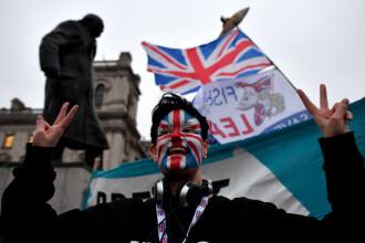 Manifest pro-Brexit la Londra. Un bărbat a incendiat drapelul UE