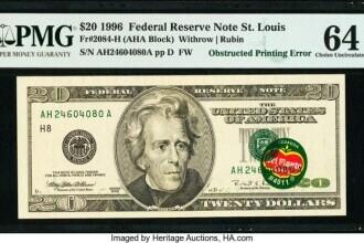 La cât a ajuns licitația pentru o bancnotă de 20 de dolari tipărită cu o etichetă de banane pe ea