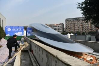 Prototip de tren care poate atinge viteza de 620 de km/h, lansat în China. Cum arată. GALERIE FOTO