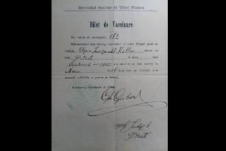 FOTO. Cum arăta un bilet de vaccinare în 1906.