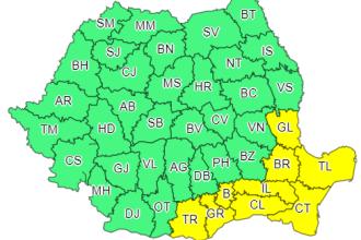 Cod galben de ninsori și viscol în sudul și sud-estul țării. Zăpadă de 8-12 cm în București