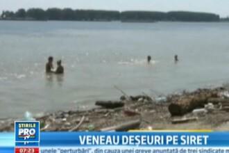 VIDEO. Mizerie de nedescris, printre care oamenii fac baie. Siretul aduce munti de gunoaie in Dunare