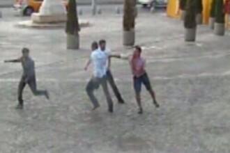 Conflict violent in centrul Capitalei. Nu s-au inteles care sa-si puna primul sare in shaorma. VIDEO