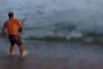 Era la pescuit, cand un rechin s-a prins in undita. Urmarea este de necrezut. VIDEO