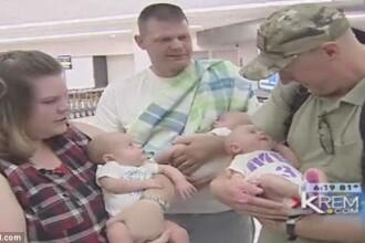 Momentul emotionant in care un tata isi intalneste copiii tripleti pentru prima data