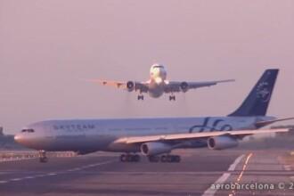 Imagini camera de supraveghere. Dezastru aviatic evitat in ultimul moment: doua avioane, la un pas de ciocnire in Barcelona