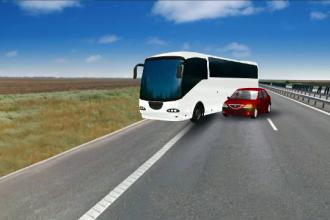 ANIMATIE GRAFICA. Cum a fost rasturnat un autocar cu 40 de oameni de un Logan. Filmul accidentului cu 33 de raniti de pe A2