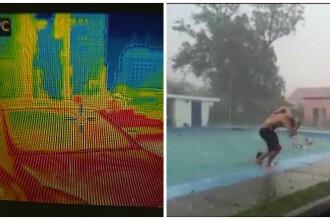 Romania, intre canicula si furtuni. Scenele surprinse intr-o zi cu 39 de grade la umbra, dar si cu grindina si ploi extreme