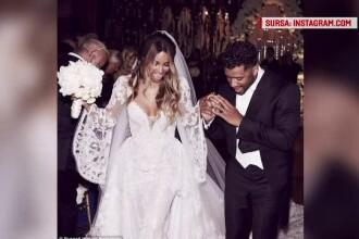 Cantareata Ciara s-a casatorit cu jucatorul de fotbal american Russell Wilson. Cum a aratat rochia si ce vedete au participat